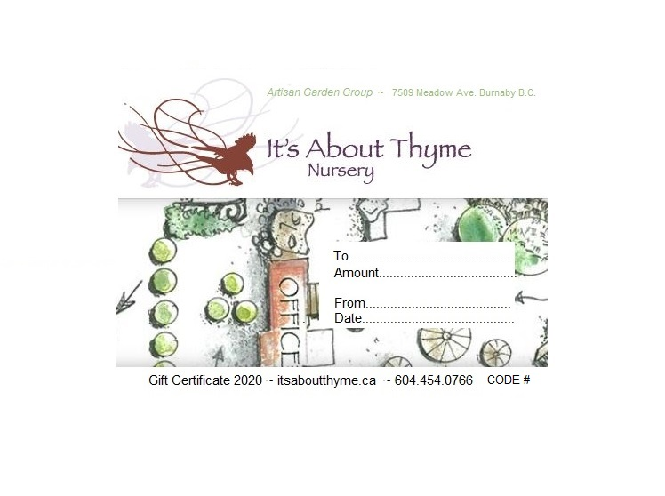 It's About Thyme Gift Certificates_ Order by phone